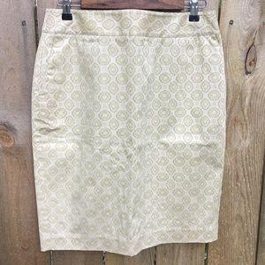 Liz Claiborne Pencil Skirt Cream/Gold EUC sz 10